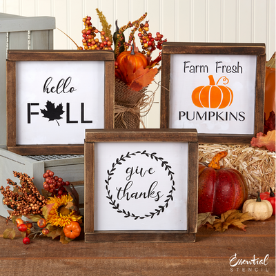 Reusable fall sign stencils for painting wood signs