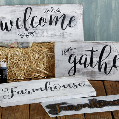 Gather, Welcome, Farmhouse Stencil Set | DIY Beautiful Farmhouse Decor