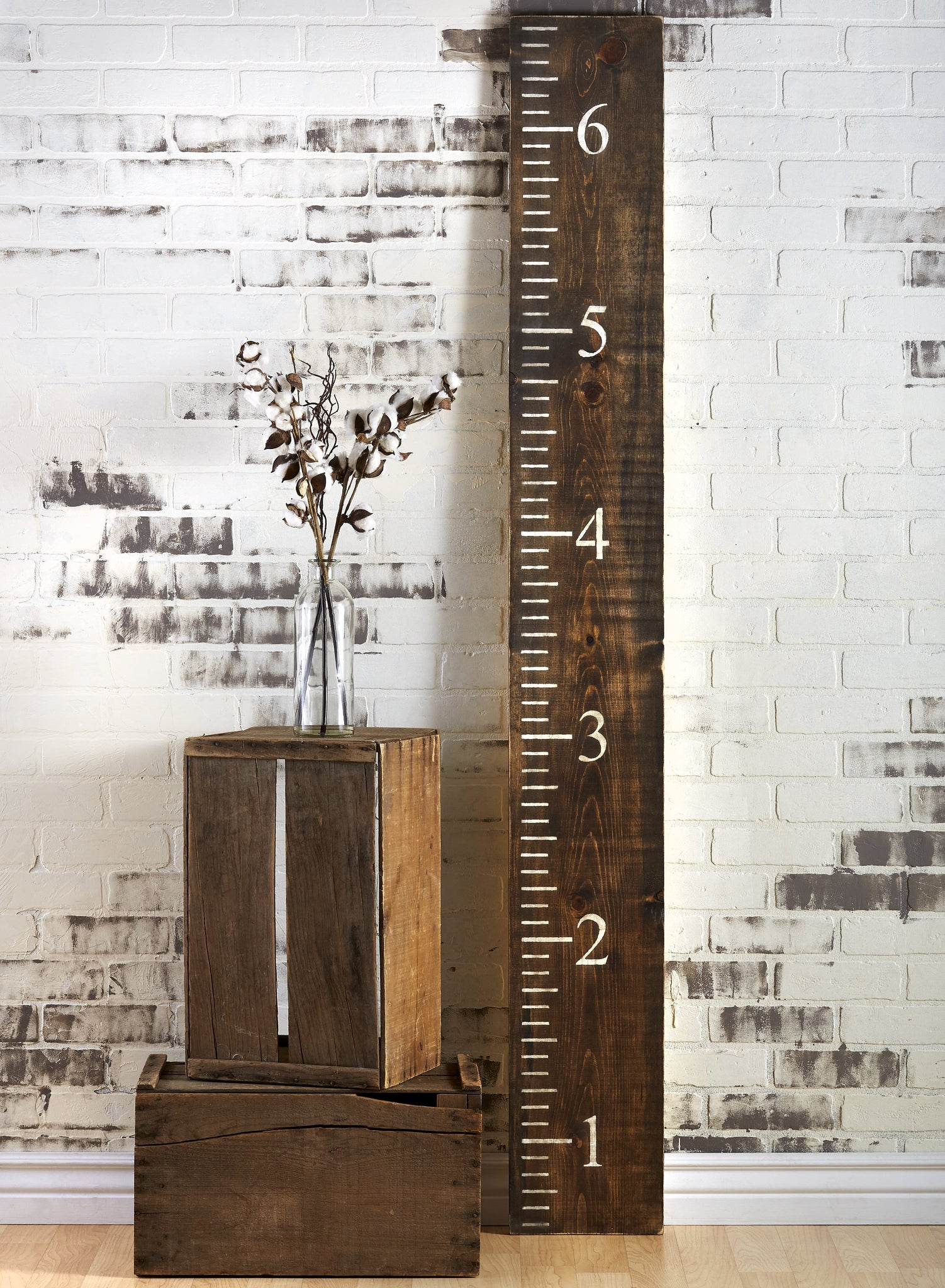 DIY Farmhouse Growth Chart Ruler Reusable Stencil | 6ft foot ruler template Pottery barn inspired wood ruler wooden