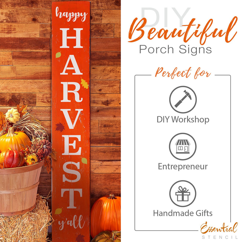 Reusable Vertical Happy HARVEST Y'all Stencil | DIY FALL Front Porch Leaner Sign