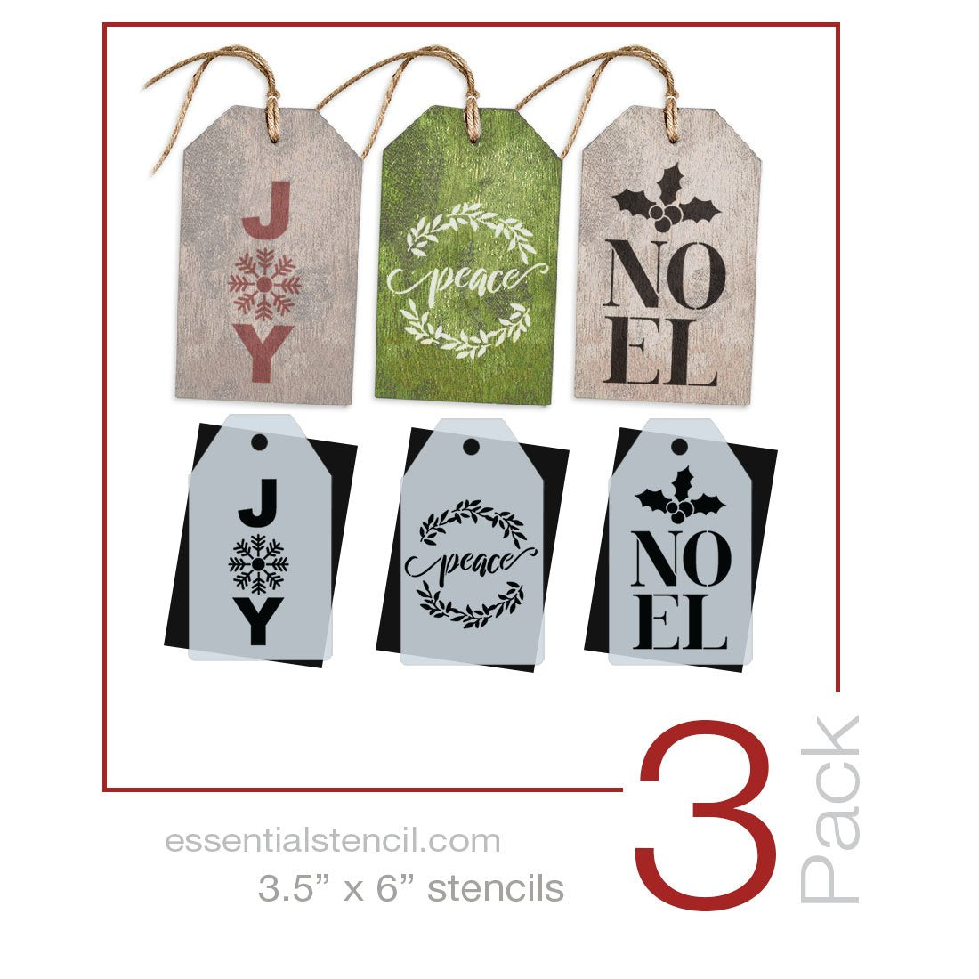 Joy, Peace & Noel Mini Tag Stencil Set (3 Pack)