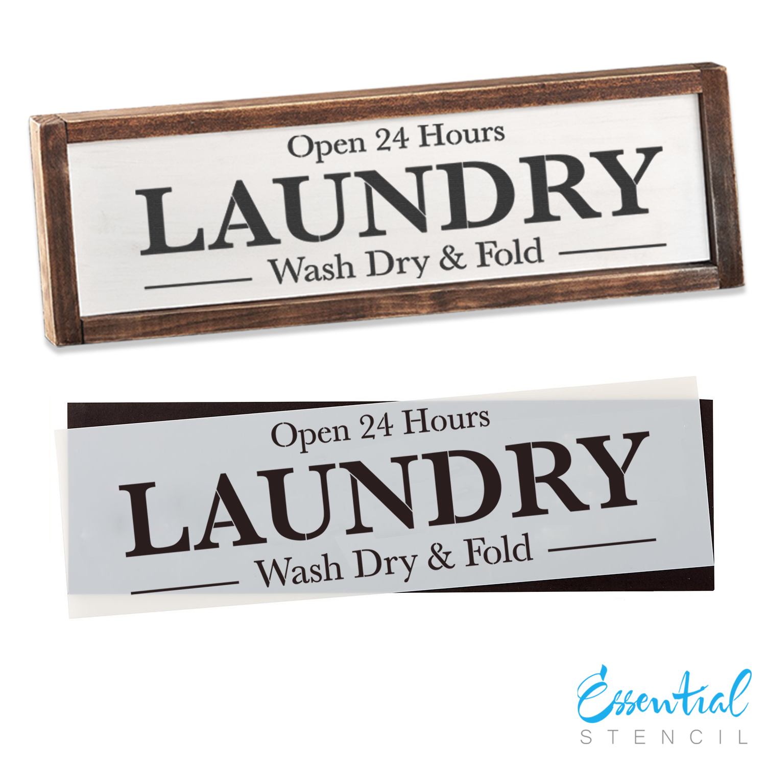 Laundry Sign Stencil | Reusable Farmhouse Stencil | DIY Wood Signs
