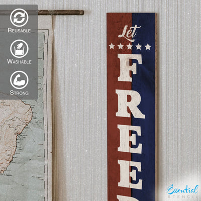 Vertical Let Freedom Ring | Patriotic Stencil