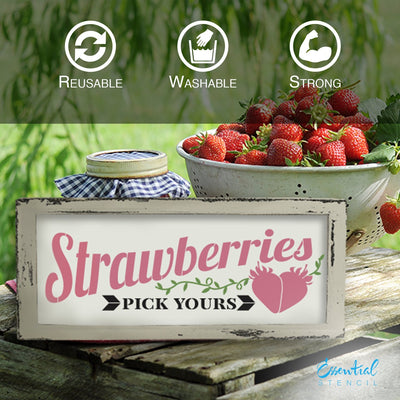 DIY reusable farmhouse stencils, Fresh Picked Peaches stencils, Sunflower farm stencil, Strawberries pick yours stencil