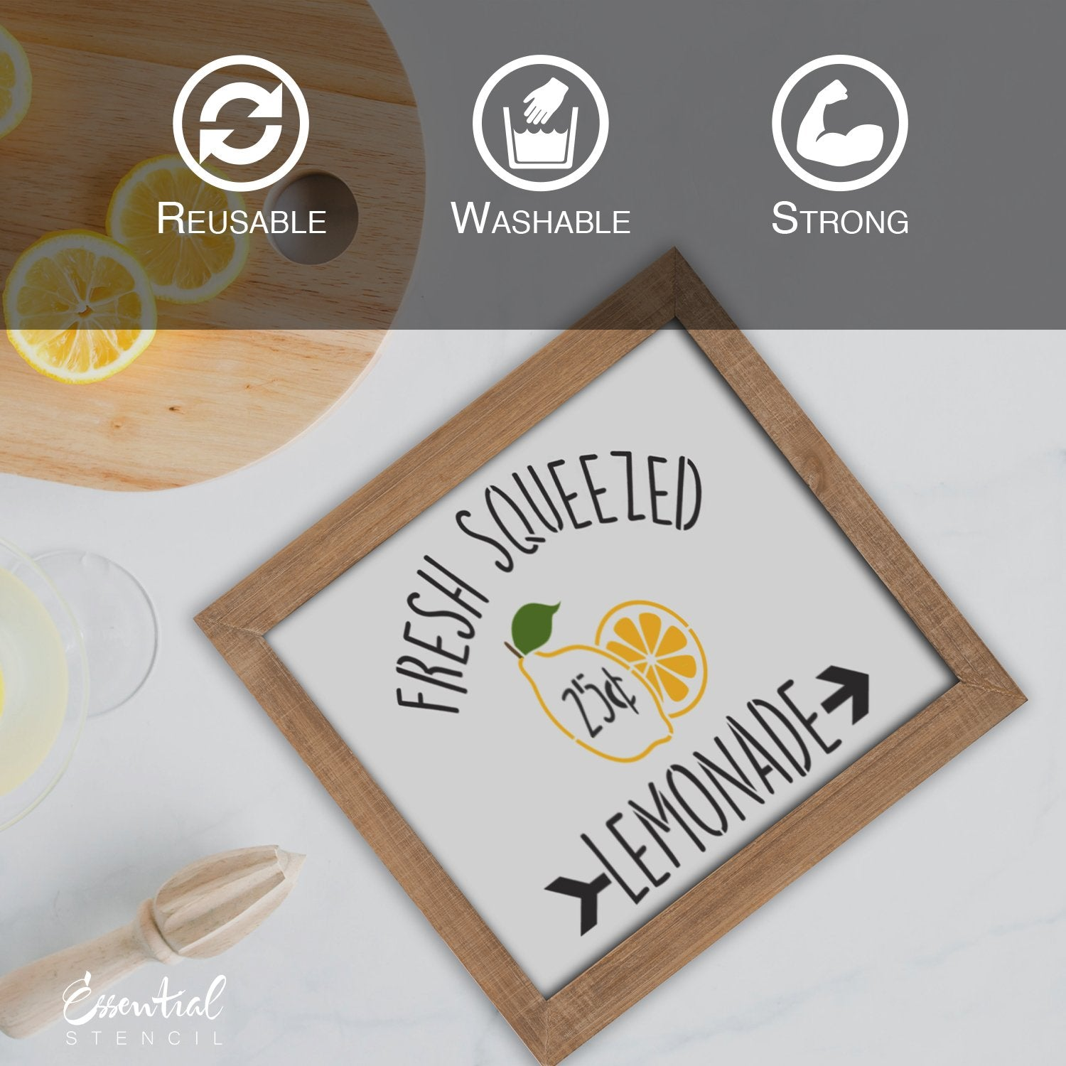 DIY reusable lemon stencils, lemons sign stencils, easy peasy lemon squeezy sign stencil, you are my main squeeze sign stencil, fresh squeezed lemonade sign stencil, DIY lemonade signs