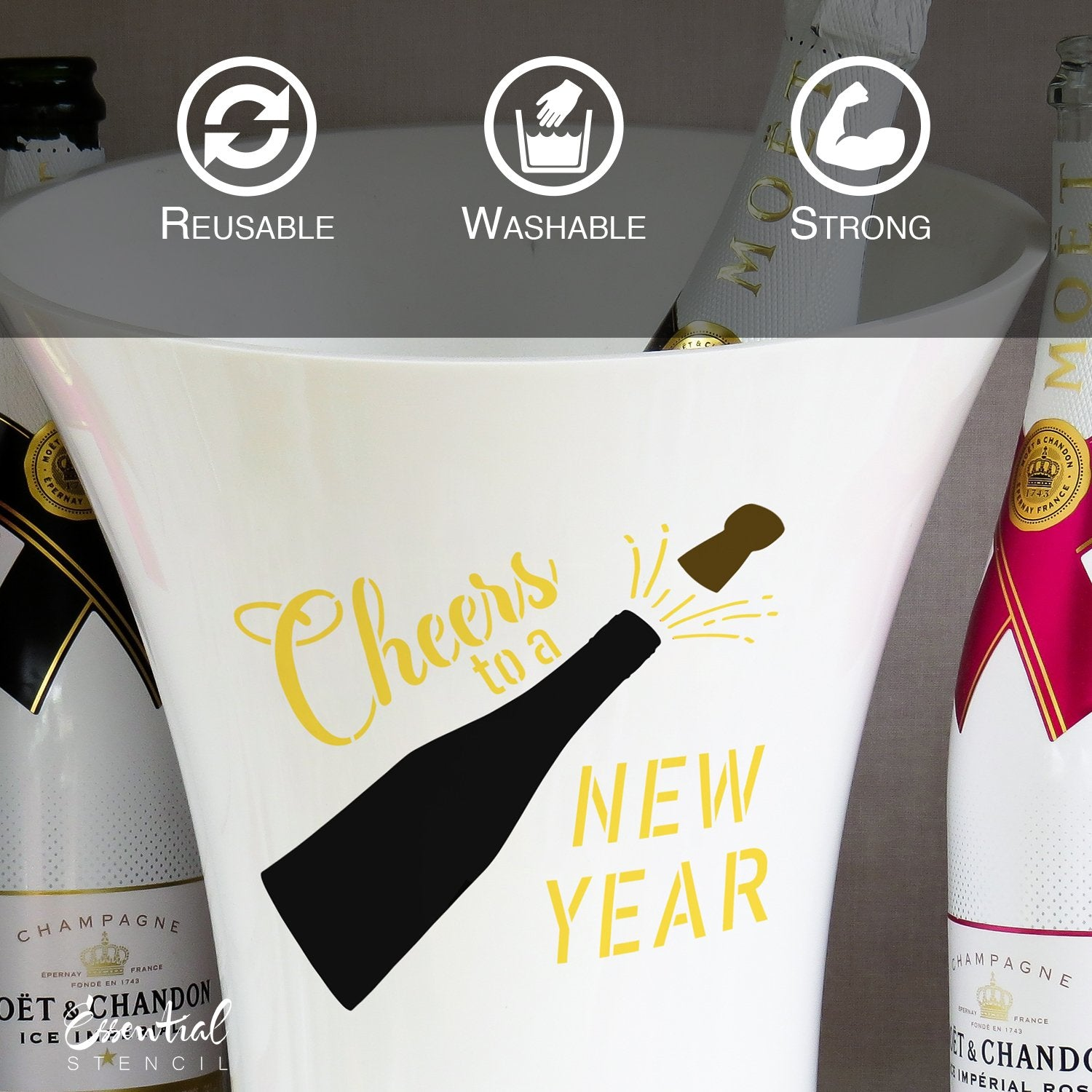 DIY reusable Happy New Year mini sign stencils, Cheers to a new year stencil, fireworks stencil, bottle popping New Year stencil, New Year DIY crafts