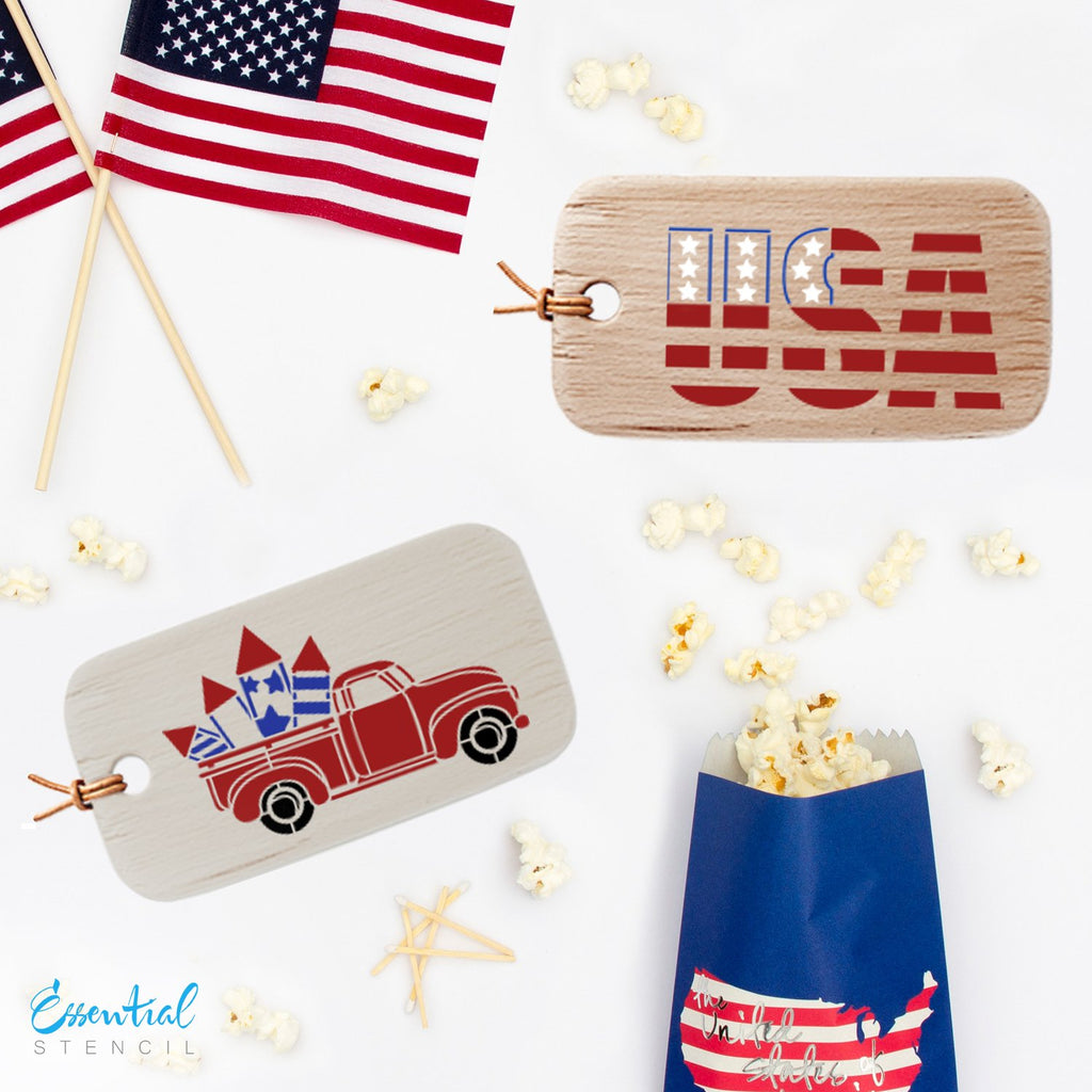 Reusable 4th of July Stencils mini Tag Fourth of July stencils, Vintage Truck with Fireworks reusable stencil, Stars reusable stencil, USA reusable stencil
