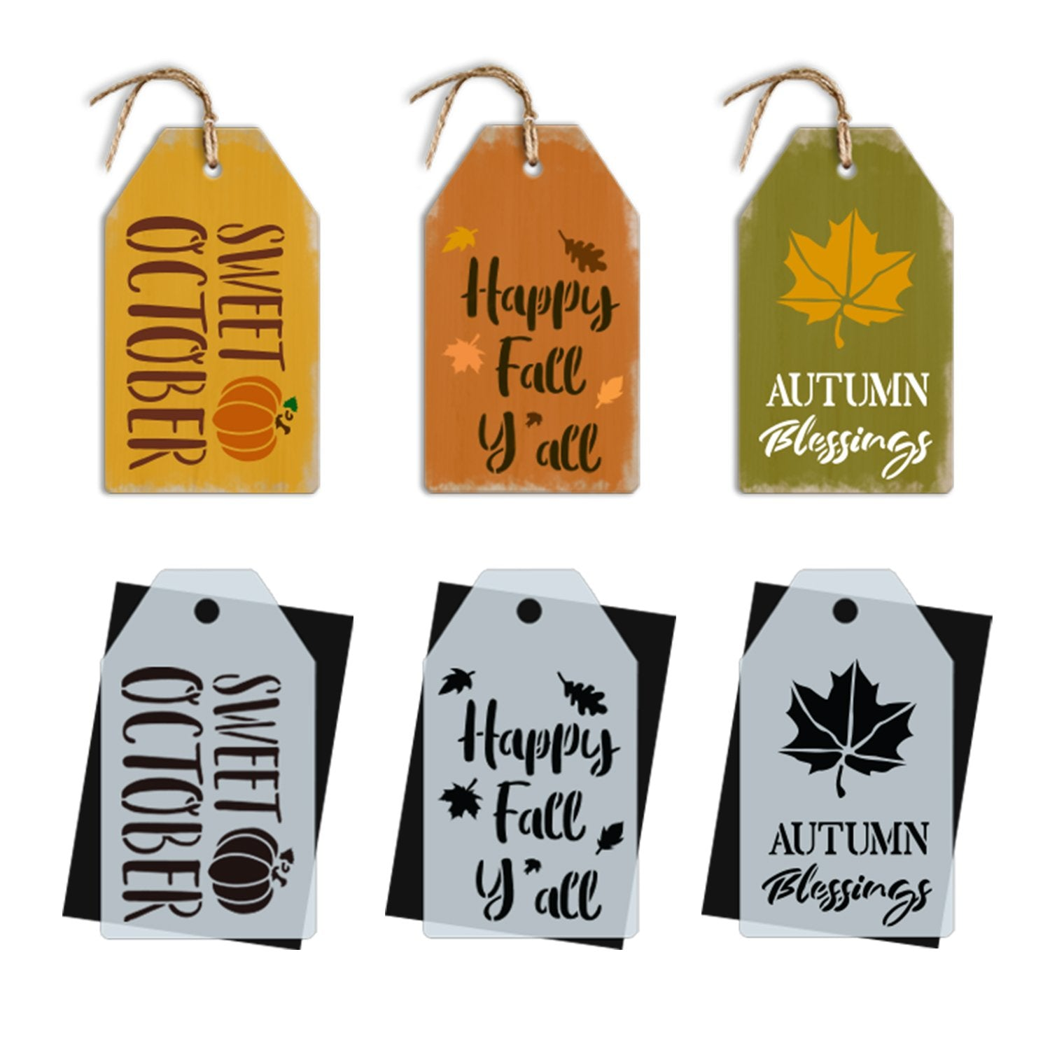 DIY reusable fall mini tag stencils, sweet October mini tag stencil sign, Happy Fall Y'all mini tag stencil sign, Autumn blessings mini fall tag stencil sign, diy fall teired tray decor, diy autumn decor tags