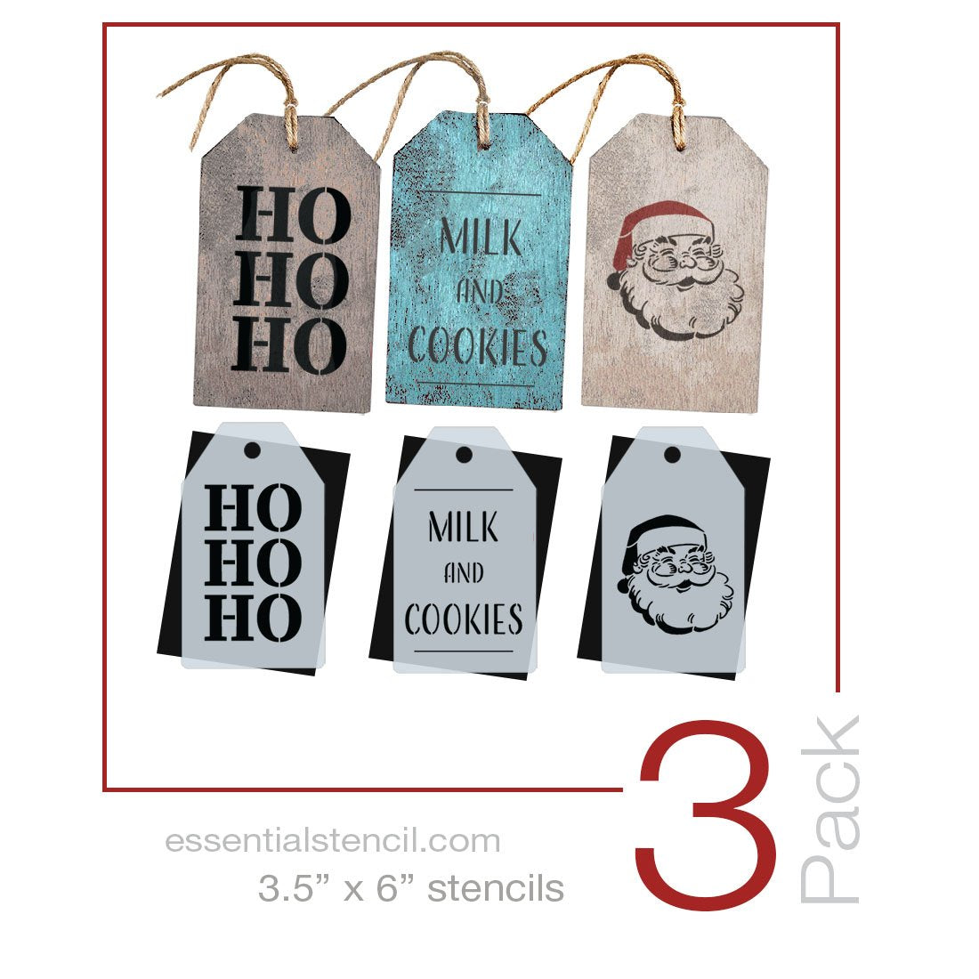 Santa Mini Tag Stencil Set (3 Pack)