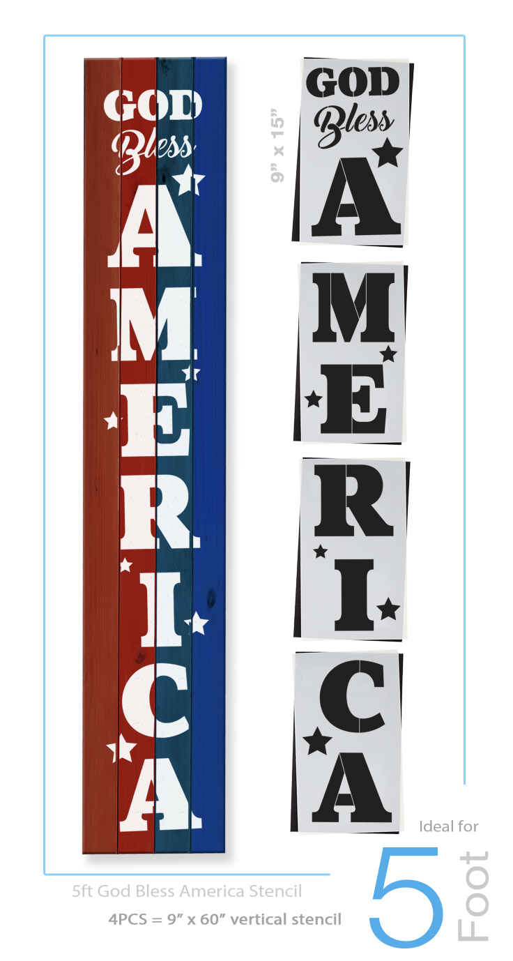 Reusable 4th of july sign stencil for painting on wood, DIY patriotic porch sign for independence day, God Bless America stencil