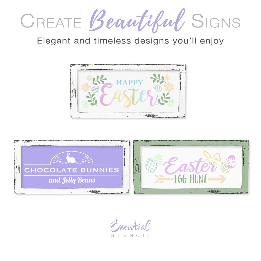 Happy Easter Stencil Set (3 Pack) Easter Egg Hunt, Chocolate bunnies and jelly beans stencil