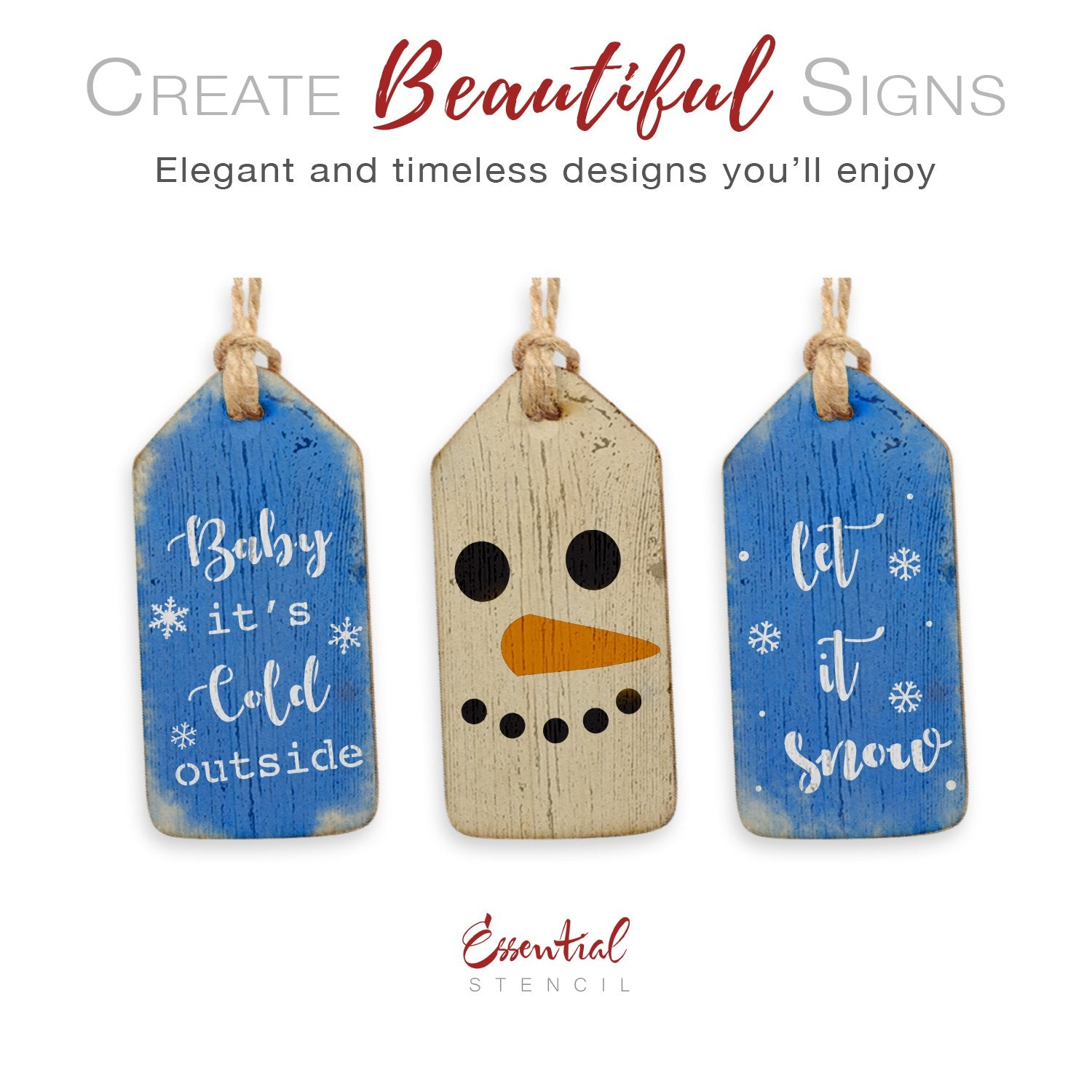 Snowman Mini Tag Stencil Set (3 Pack)