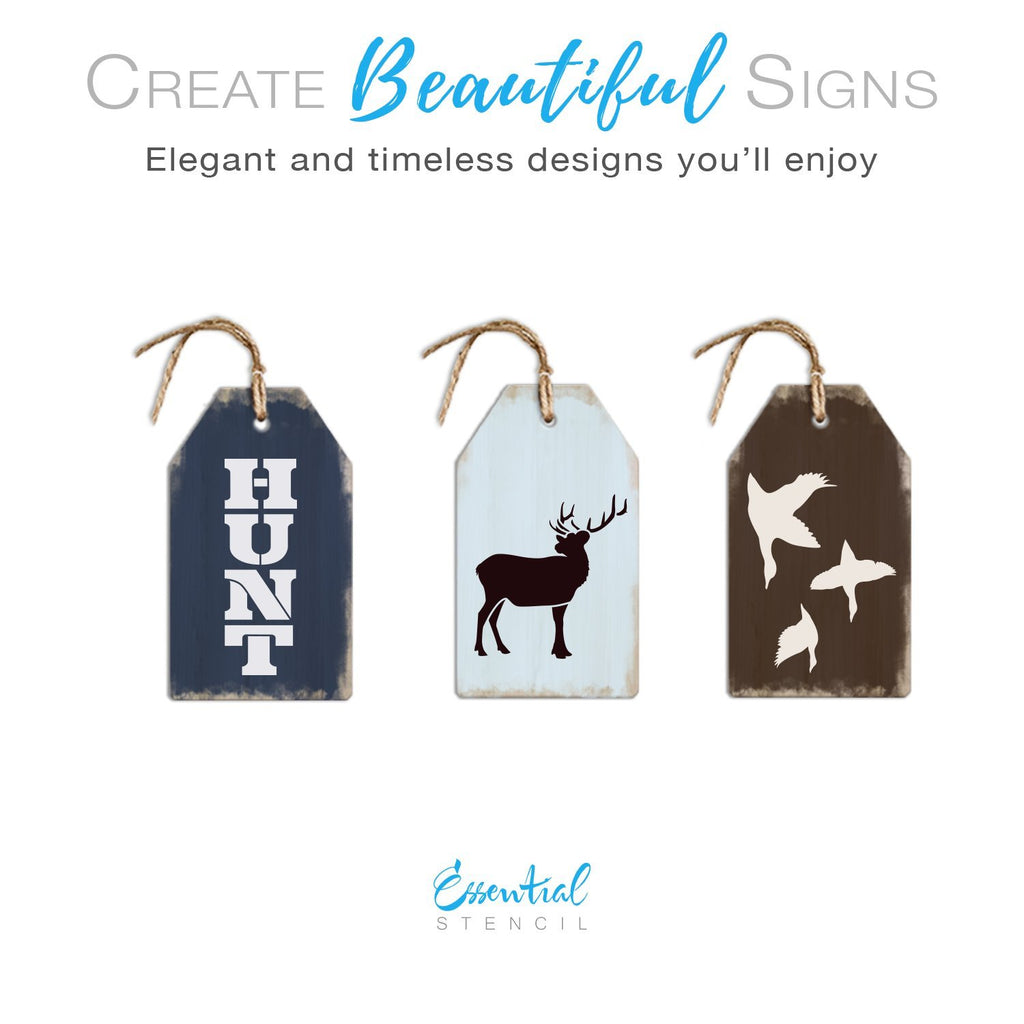 DIY reusable Mini tag hunting stencils, HUNT stencil, elk stencil, deer stencil, flock of geese stencil, duck stencil, hunting stencils