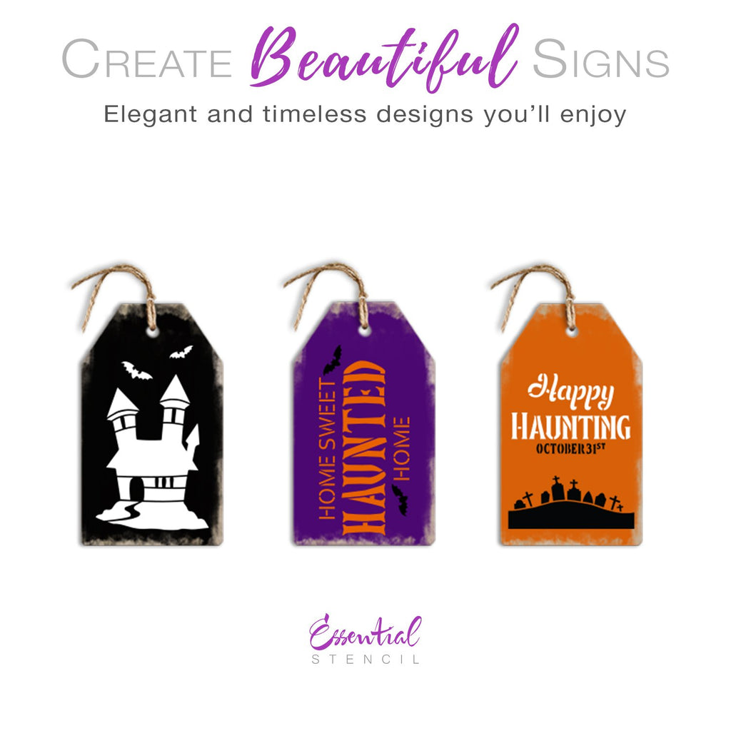 DIY reusable mini halloween sign stencils, Mini tag Halloween sign stencils, Home sweet haunted home mini sign stencil, Happy Haunting October 31st mini tag sign stencil, haunted house stencil
