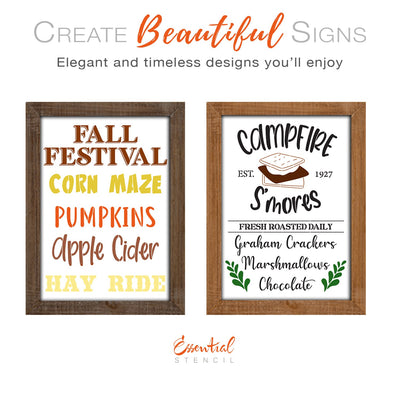 DIY reusable Fall Festival sign stencils, Fall Festival corn maze pumpkins apple cider hay ride sign stencils, Campfire S'mores fresh roasted daily graham crackers marshmallows, chocolate sign stencil, S'more sign stencil