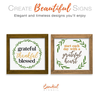 DIY reusable fall sign stencils, grateful thankful blessed laurel sign stencil, start each day with a grateful heart laurels sign stencil