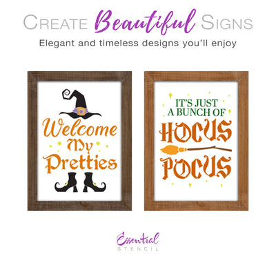 DIY reusable witch halloween sign stencils, Welcome my pretties sign stencil, its just a bunch of hocus pocus sign stencil