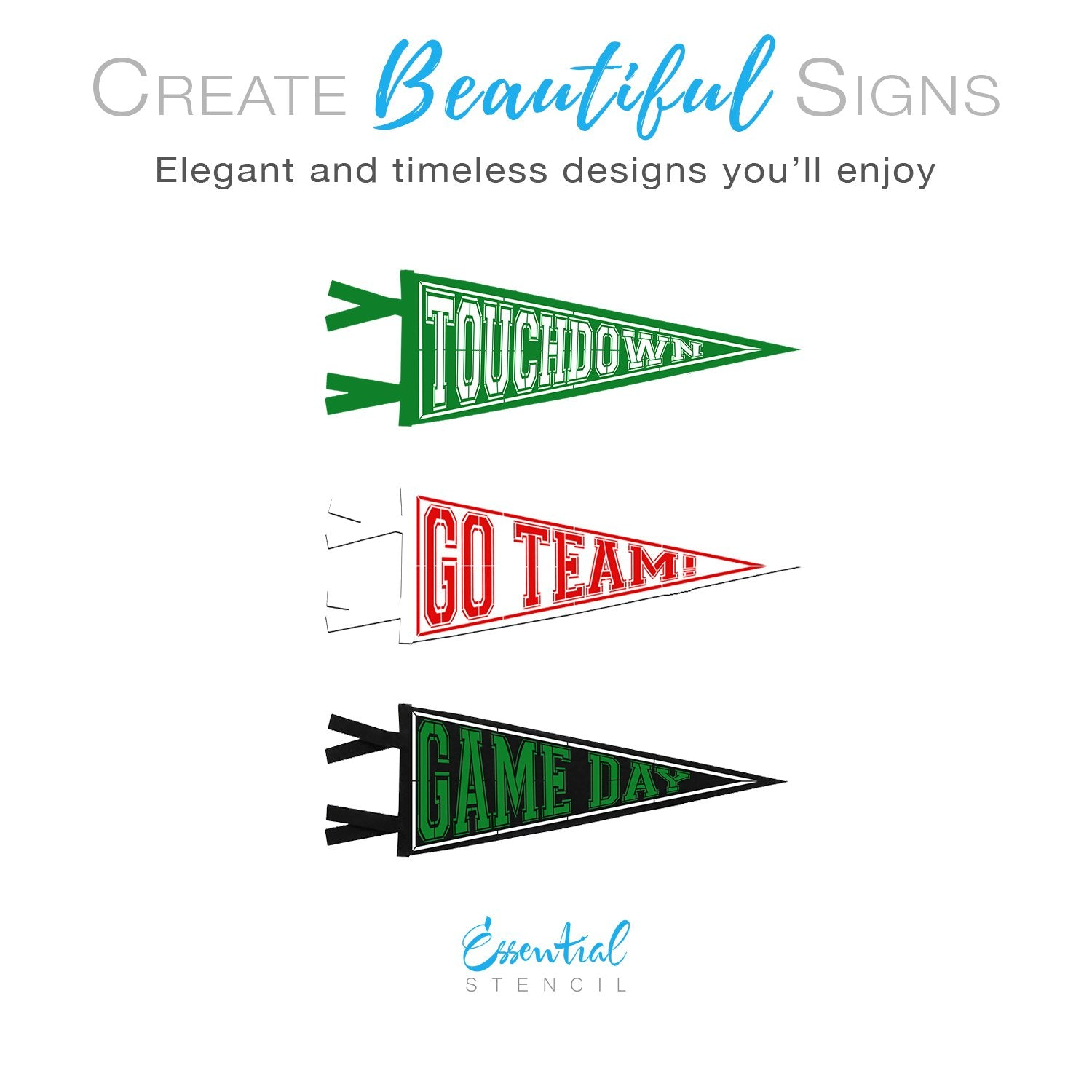 Football Pennants Sign Stencils (3 Pack)