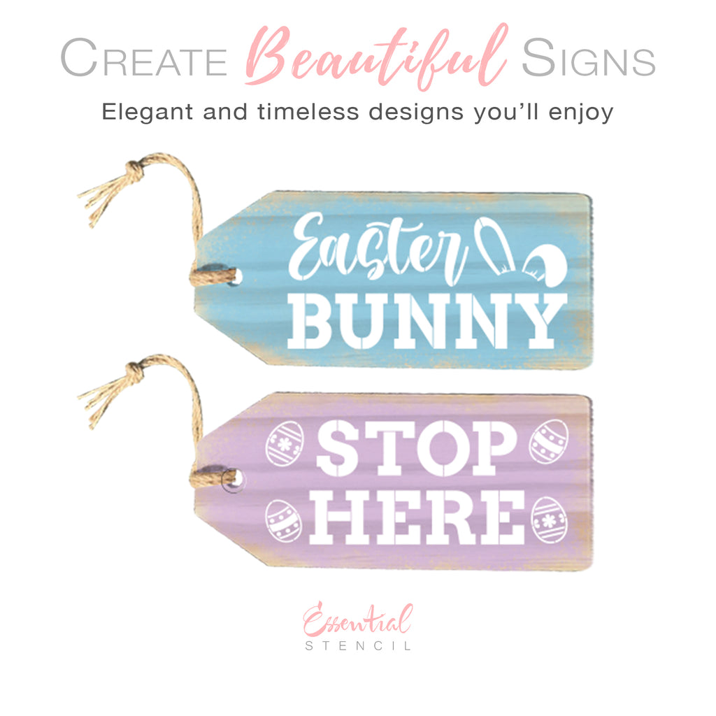 DIY reusable Easter tag stencils, Easter Bunny Stop Here Large Wreath door tag stencils, DIY Easter wreath decor