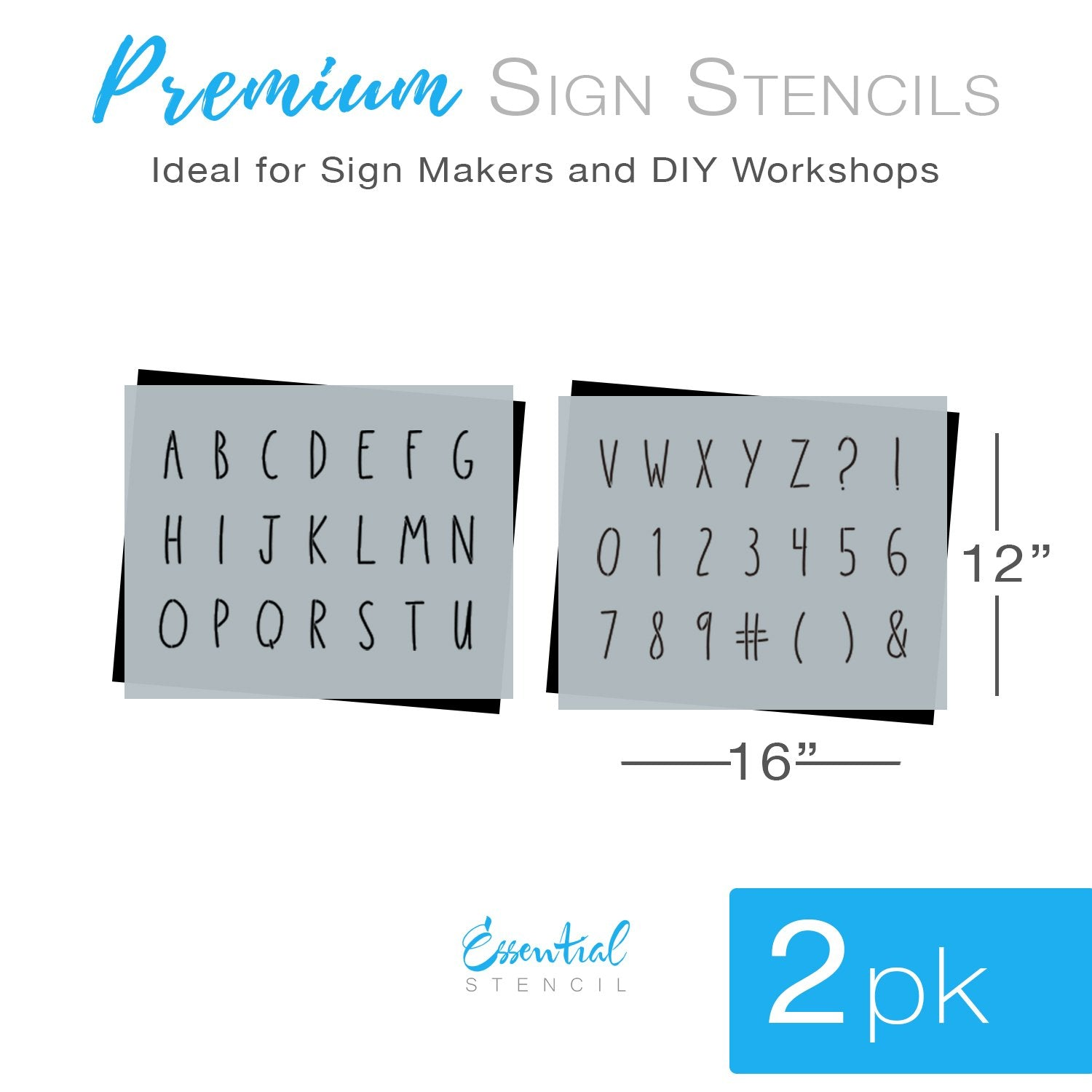 Diy reusable farmhouse 2 inch A-Z skinny handwritten alphabet letter set stencils