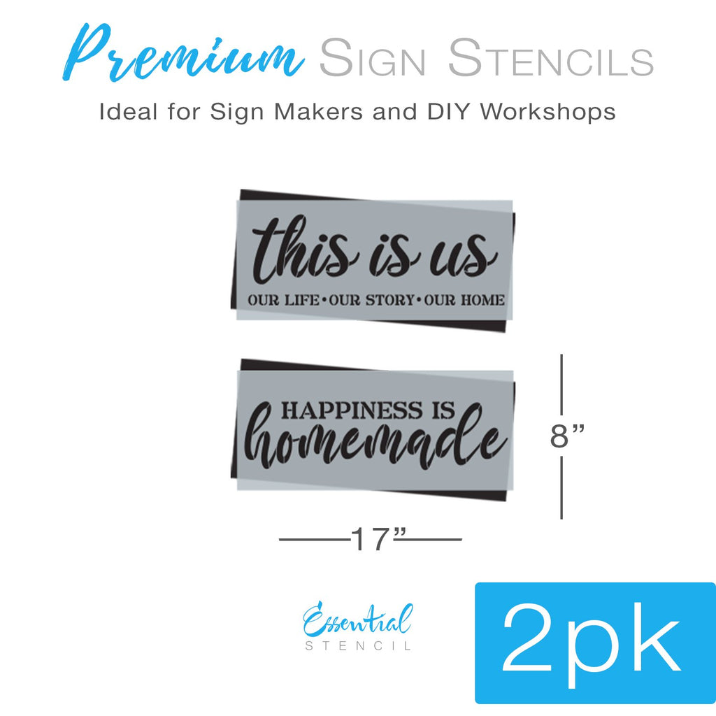 DIY reusable This is us sign stencil, This is us our life our story our home sign stencil, happiness is homemade sign stencil, home decor sign stencils, home sign stencils, diy home decor, diy housewarming gift home sign stencil