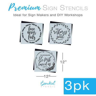DIY reusable faith sign stencils, faith wall sign stencils, love never fails sign stencil, 1 Corinthians 13:8 wall sign stencil, we love because he first loved us 1 john 4:19 wall sign stencil, he restores my soul psalm 23:3 sign stencil, bible verse sign stencils, biblical sign stencils