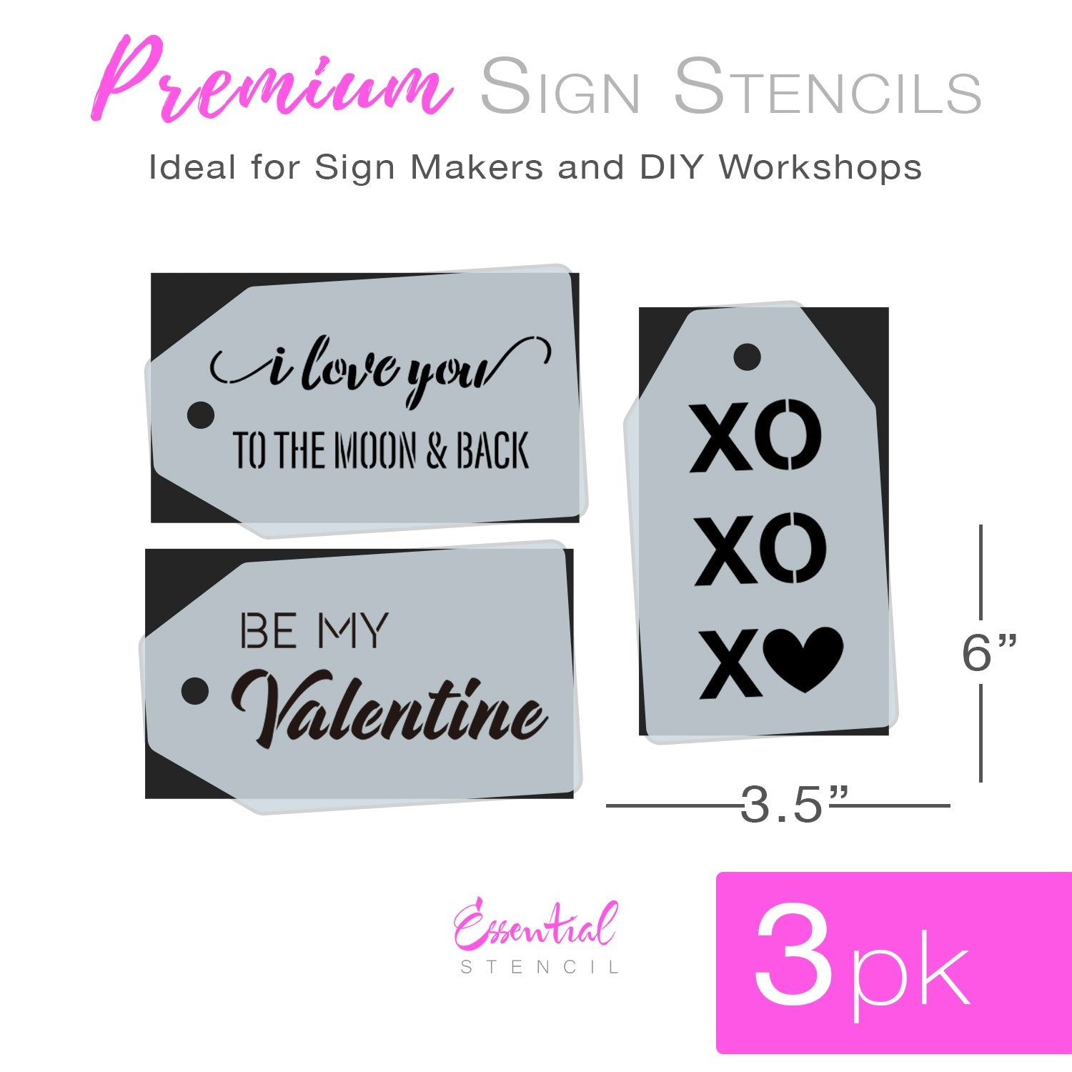 Be My Valentine Mini Tag Stencil Set (3 Pack)