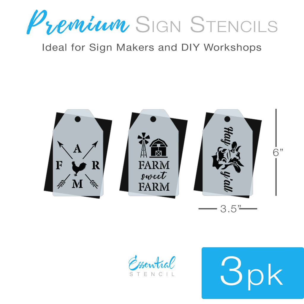DIY reusable farmhouse farm mini tag stencils, farmhouse stencils, farm compass stencil, farm sweet farm stencil, farm sweet farm windmill barn stencil, cow mini tag stencil, Hay Y'all cow stencils, mini tag farm