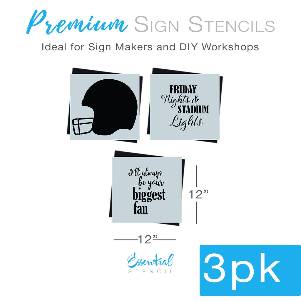 Diy farmhouse football home decor, Reusable sports theme sign stencils, Friday Nights and stadium lights, I'll always be your biggest fan Football stencil template