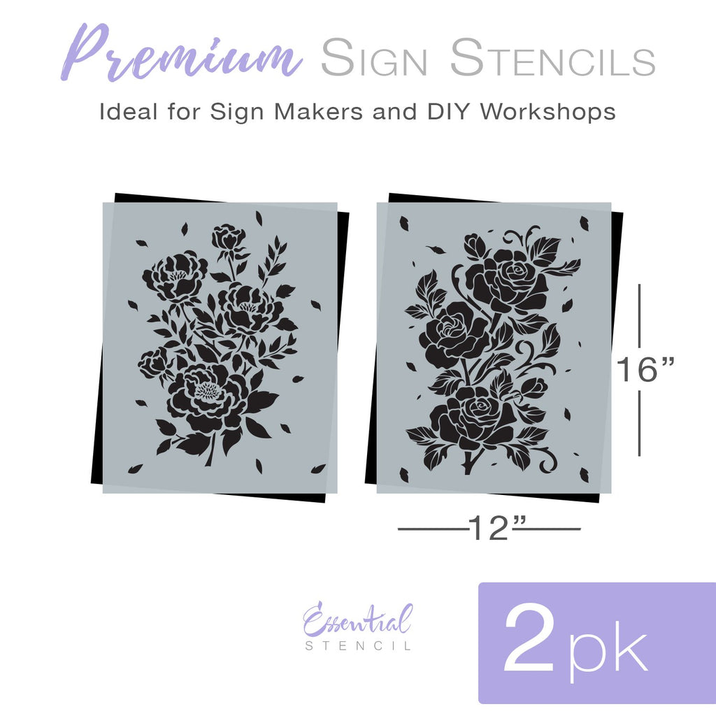 DIY flower reusable furniture pattern stencils, floral design Rose stencil and Peony stencil