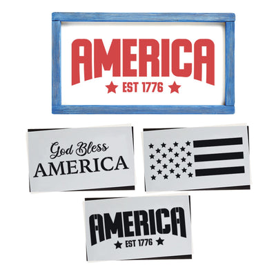Reusable Patriotic sign stencils for painting on wood, DIY 4th of July home decor, God Bless America, America est.1776, American Flag stencil