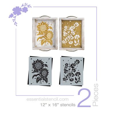 DIY flower reusable furniture pattern stencils, floral pattern design, Sunflower stencil and Periwinkle stencil