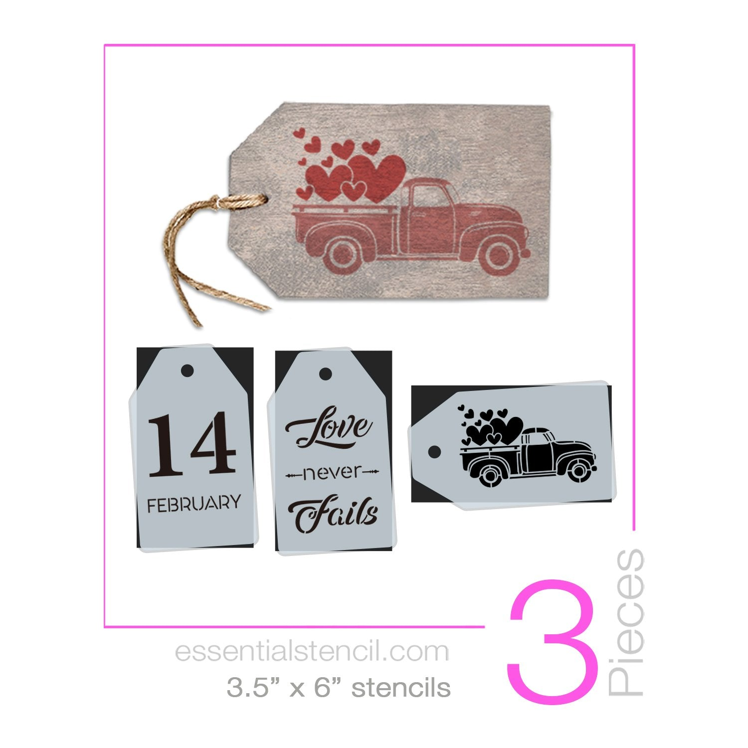 Valentine's Truck Mini Tag Stencil Set (3 Pack)