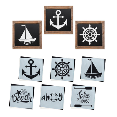 Reusable Nautical Farmhouse sign stencils for painting on wood, DIY Nautical home decor, Ahoy, anchor, sailboat, beach, lake house, ship wheel stencil