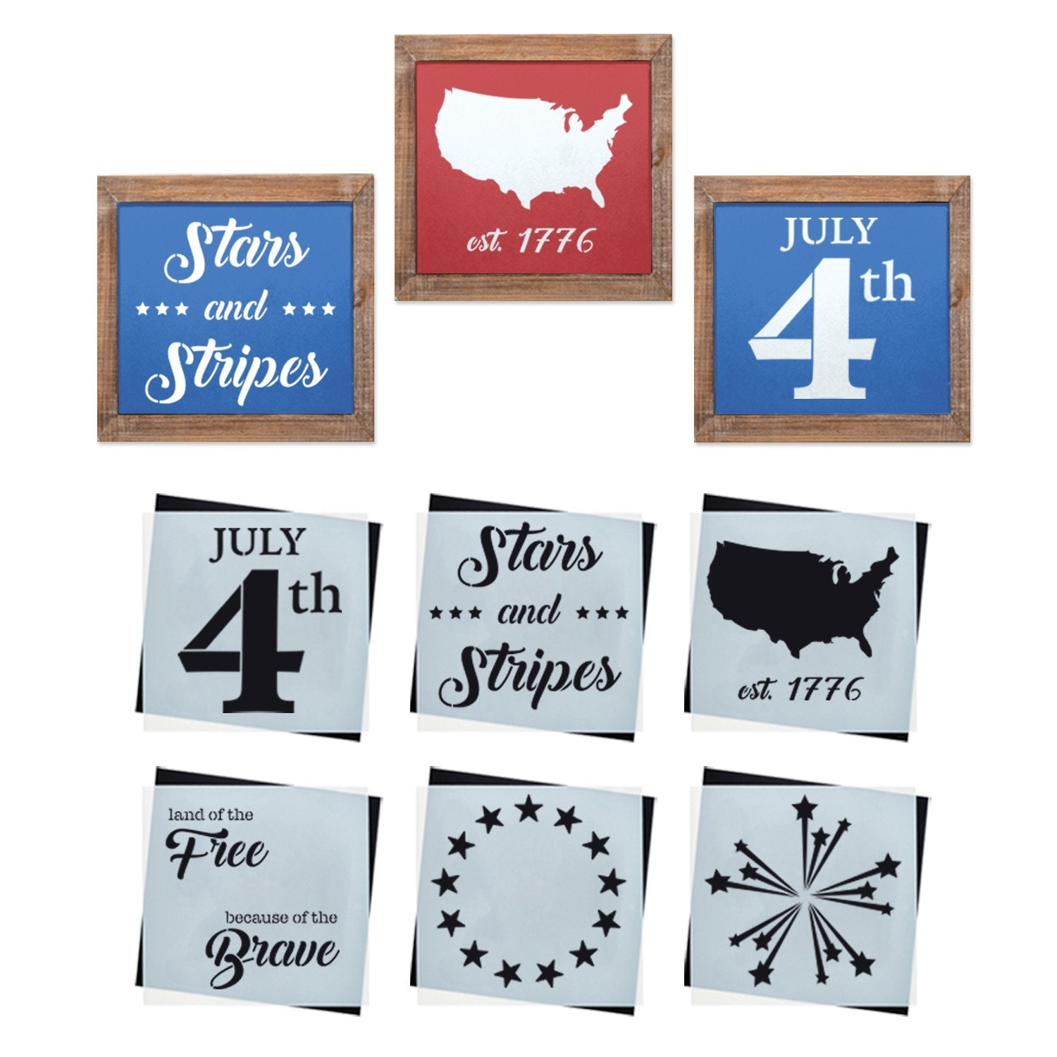 Reusable Patriotic sign stencils for painting on wood, DIY 4th of July home decor, July 4th, Stars and stripes, USA, United States silhouette, Betsy ross 13 star, land of the free because of the brave stencil
