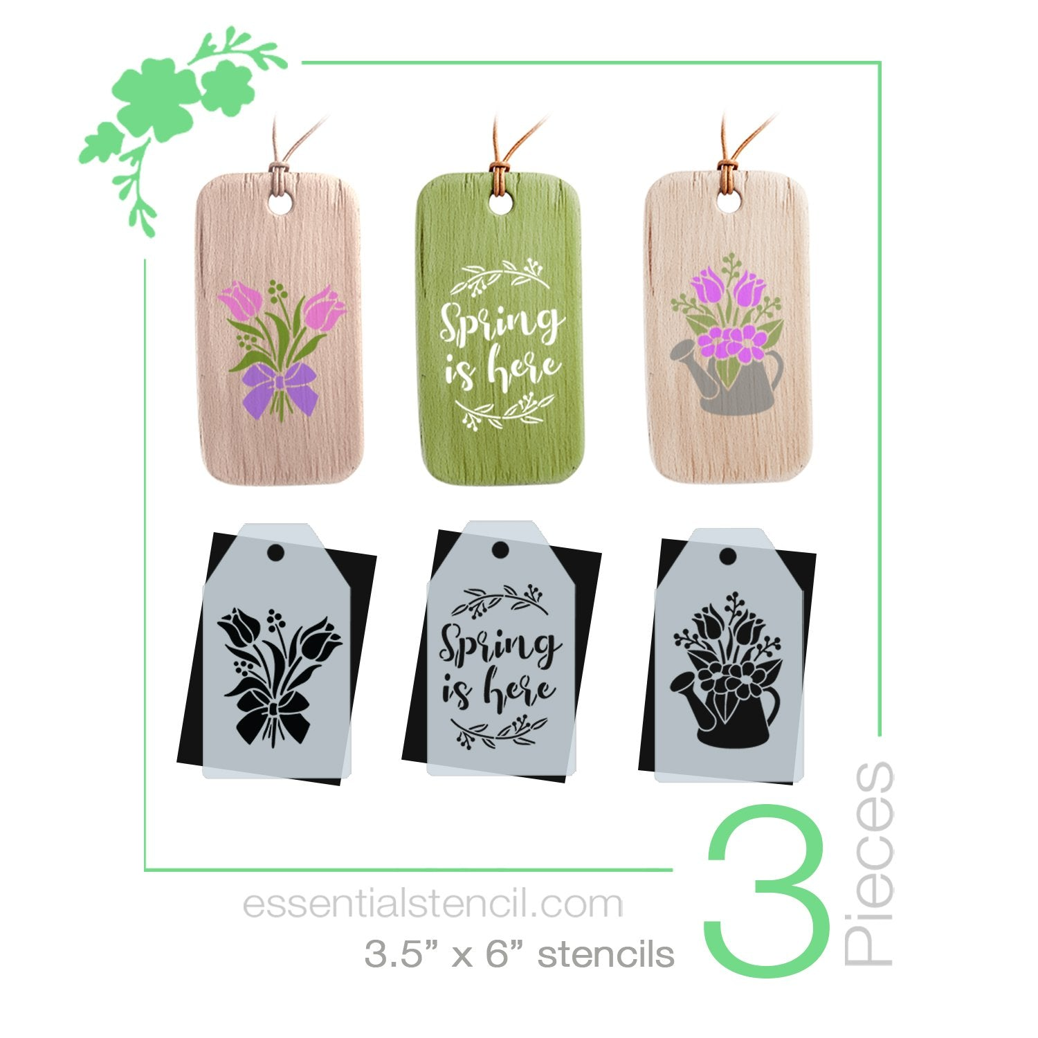 Spring is Here Mini Tag Stencil Set (3 Pack) Tulips and Spring flower Watering Can Stencil