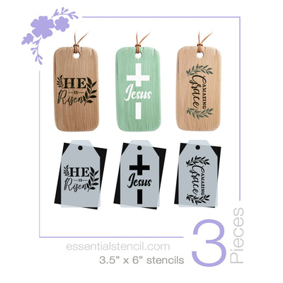 He is Risen Mini Tag Stencil Set (3 Pack) Jesus Cross, Amazing Grace Stencil