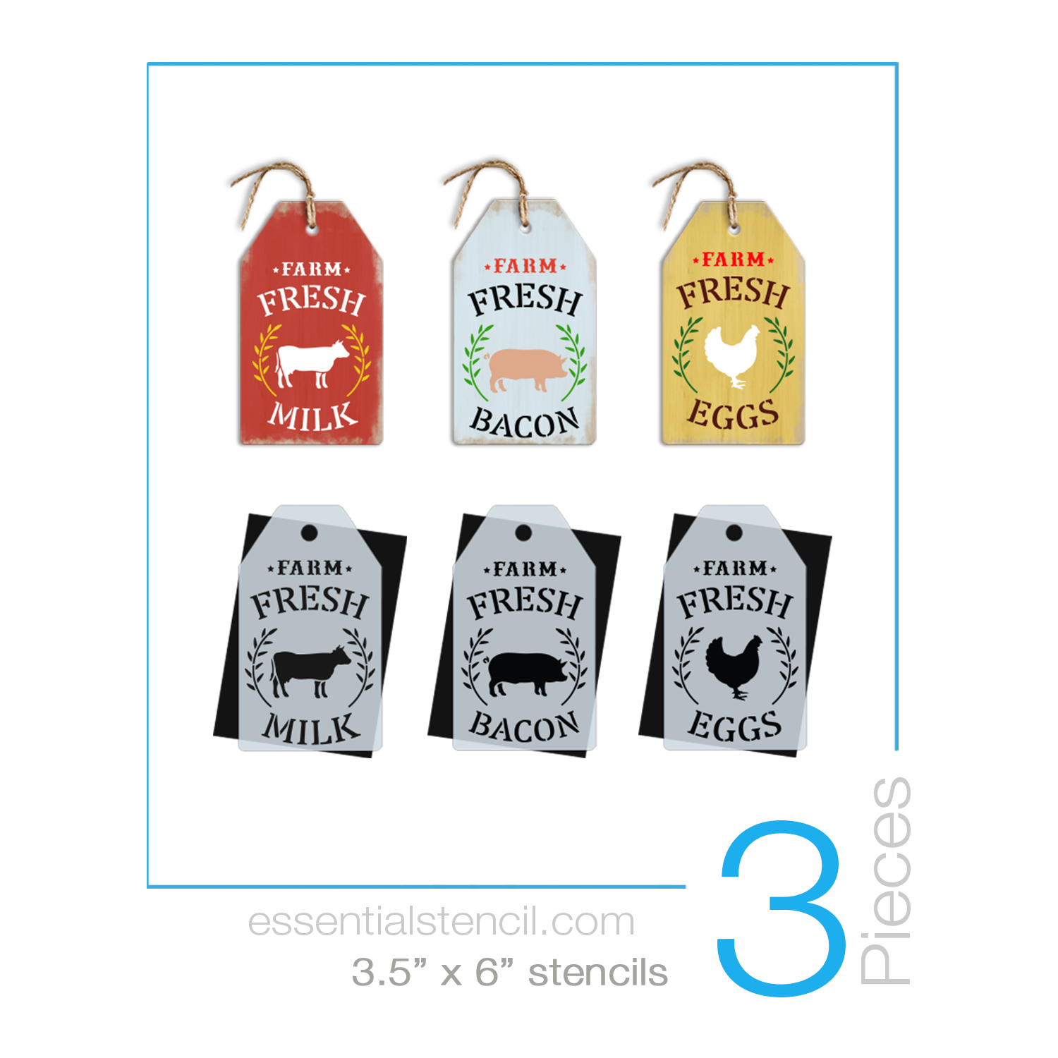 DIY reusable farmhouse mini tag stencils, Mini Tag Farm Fresh Milk Cow stencil, Farm fresh bacon pig stencil, Farm fresh eggs chicken stencil, Farm fresh mini tag stencils