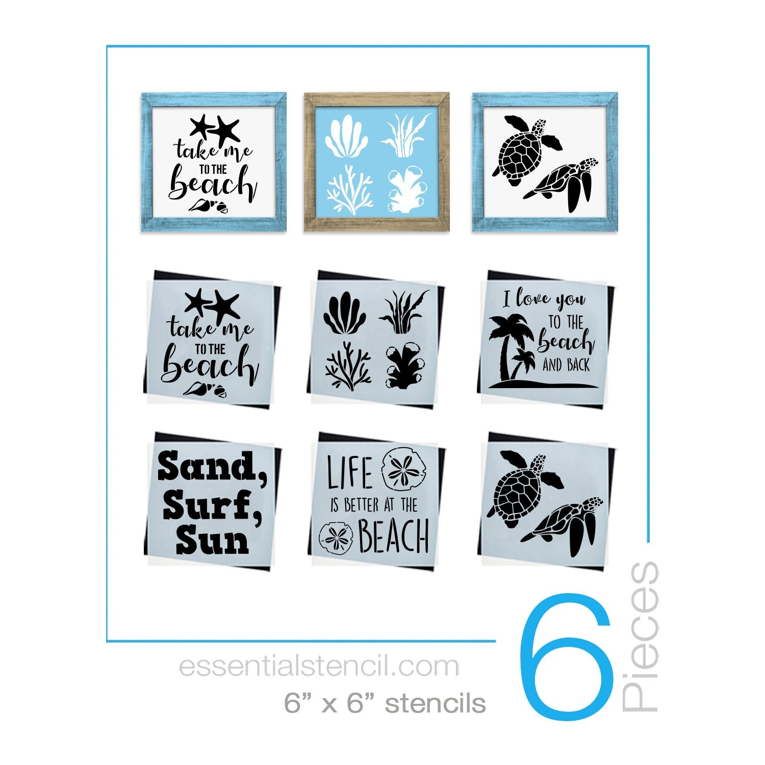 Beach Mini Stencil Set (6 Pack)
