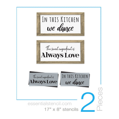 DIY reusable stencils, In this kitchen we dance reusable stencil, The secret ingredient is always love reusable stencil, diy kitchen sign stencils
