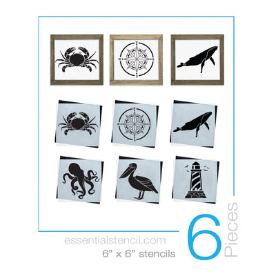 Nautical, Sea Life, Octopus, Crab, Whale, Lighthouse, Pelican, Compass reusable mini Stencils