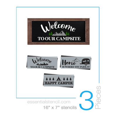 DIY reusable stencils, Camping stencils, diy camping stencils, Welcome to our campsite sign stencil, Home is where you park it sign stencil, happy camper sign stencil
