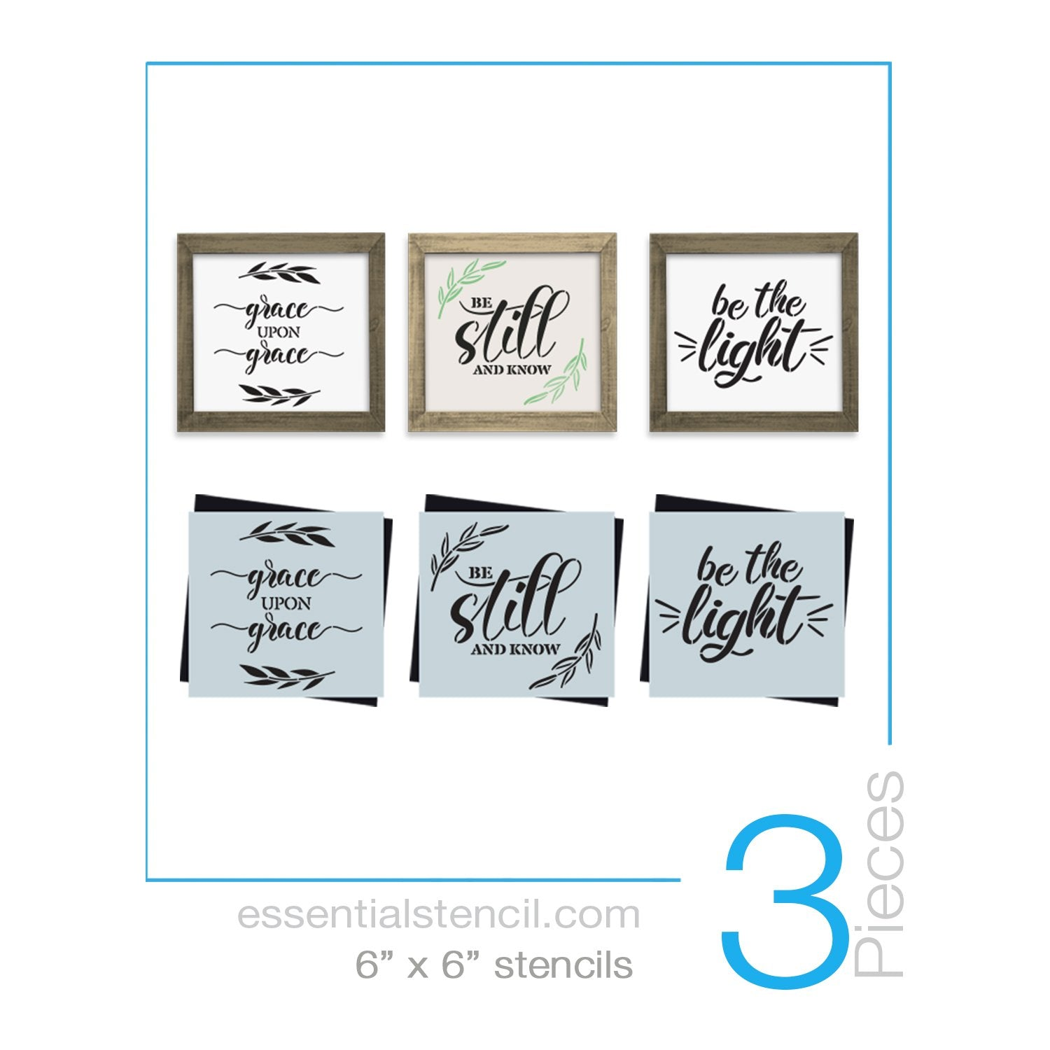 DIY reusable scripture stencils, faith sign stencils, grace upon grace sign stencil, be still and know sign stencil, be the light sign stencil, mini bible verse sign stencils