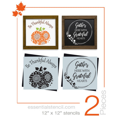 DIY reusable fall stencils, Be thankful always fall sign stencil, pumpkin with sunflower pattern stencil, gather here with grateful hearts sign stencil