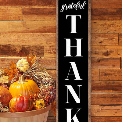 Grateful, Thankful, Blessed Vertical Fall Stencil