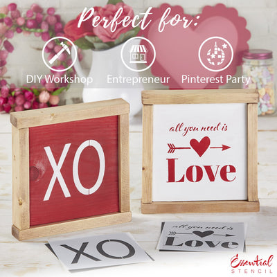 XOXO XO stencil, all you need is love stencil | Reusable Valentine's Sign Stencils for painting wood signs | DIY Farmhouse Valentines Day Decor | XO stencil, all you need is love stencil