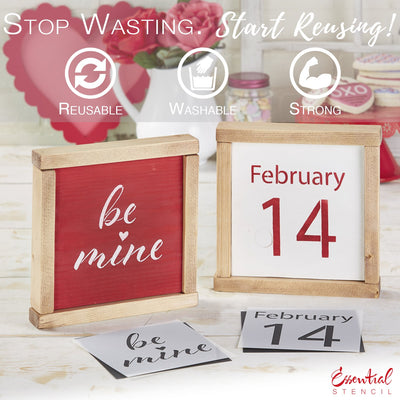 February 14th stencil, be mine stencil | Reusable Valentine's Sign Stencils for painting wood signs | DIY Farmhouse Valentines Day Decor