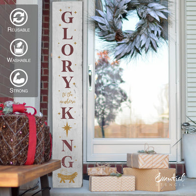 DIY reusable farmhouse Christmas template, reusable farmhouse Christmas sign stencil, Christmas stencils, diy Christmas home decor, Vertical Glory to the newborn King 5ft porch sign stencil, glory to the newborn king porch leaner template