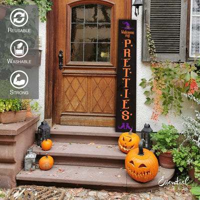 DIY reusable vertical 5ft sign stencils, 5ft vertical welcome my pretties porch sign stencil, Welcome my pretties porch sign leaner, Halloween leaner, 5ft Halloween vertical porch sign stencils