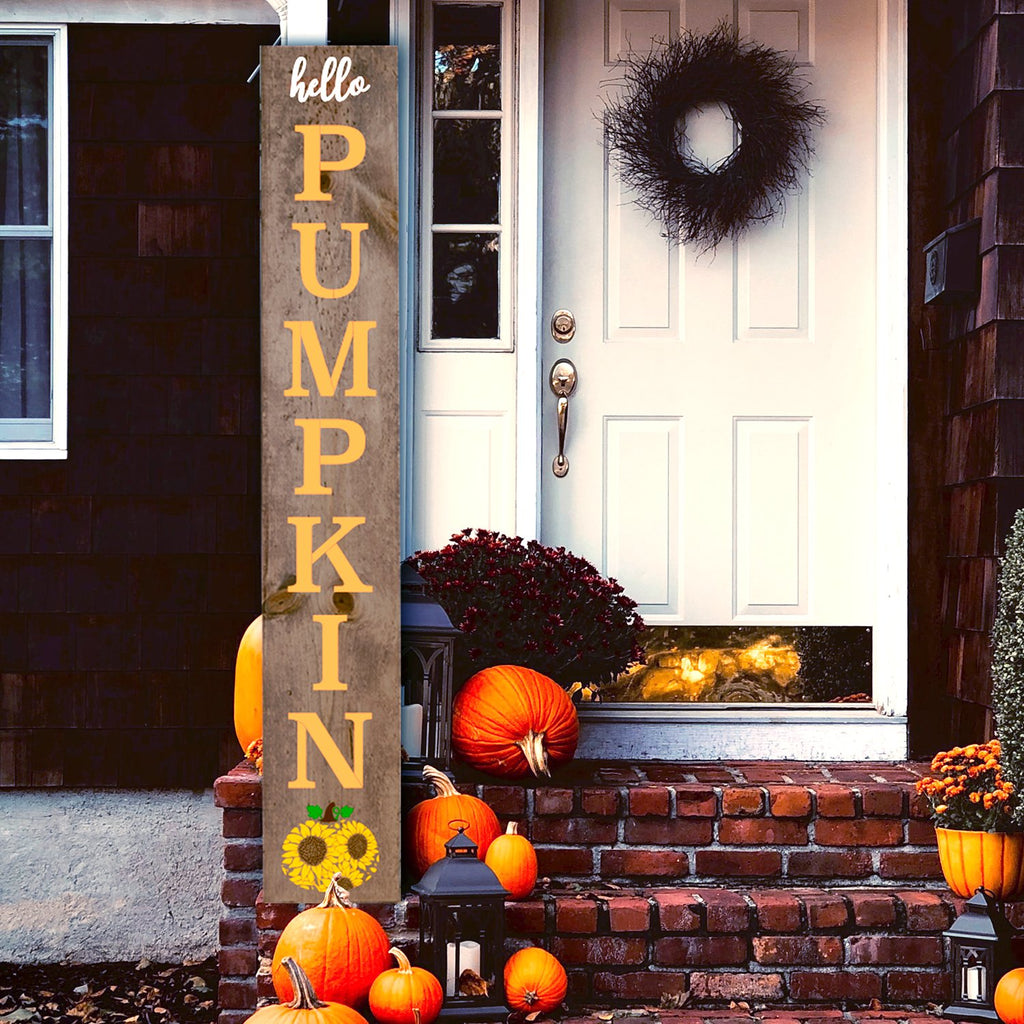 DIY reusable Vertical 5ft fall sign stencil, Hello Pumpkin autumn 5 ft Porch Leaner template